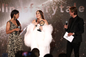 Greta Sapkaite, Anna Chibisova and Jonathan Cheban  (Photo by John Phillips/Getty Images for World Bloggers Awards)